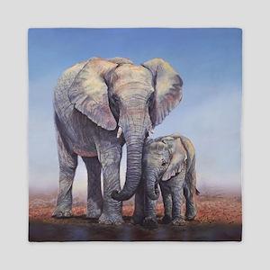 Elephants Mom Baby Queen Duvet