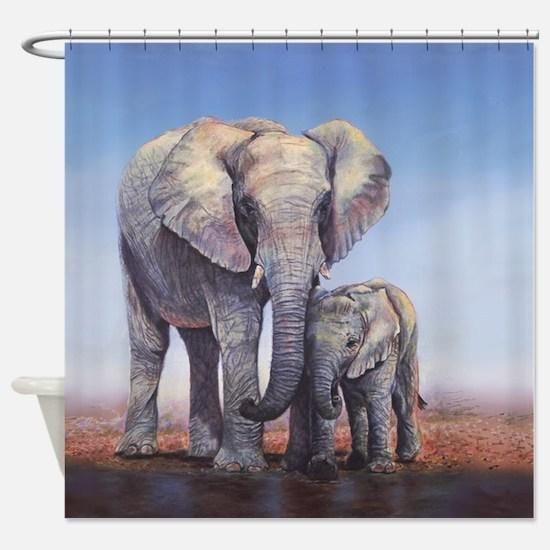 Elephants Mom Baby Shower Curtain