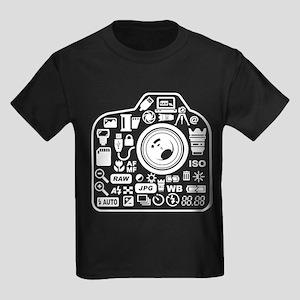 Photographer Icons Set Kids Dark T-Shirt