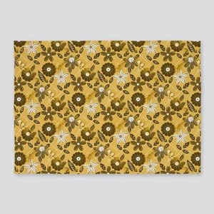 Gold Floral Pattern 5'x7'Area Rug