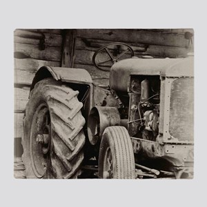 Rusty Old Tractor  Throw Blanket
