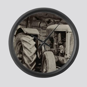 Rusty Old Tractor  Large Wall Clock