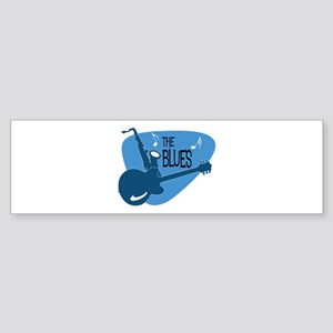 The Blues Retro Guitar Saxophone Bumper Sticker