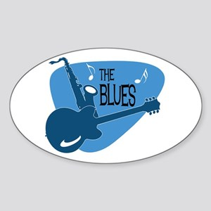 The Blues Retro Guitar Saxophone Sticker