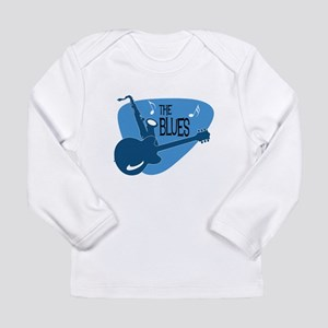 The Blues Retro Guitar Saxophone Long Sleeve T-Shi