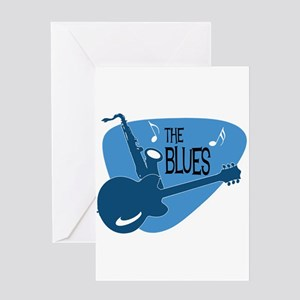 The Blues Retro Guitar Saxophone Greeting Cards
