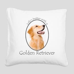 A Golden Life Square Canvas Pillow