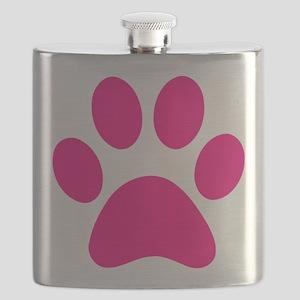 Pink Paw Print Flask