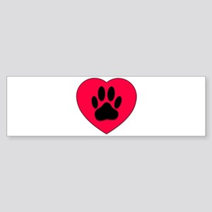 Red Heart With Dog Paw Print Bumper Sticker