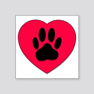 Red Heart With Dog Paw Print Sticker