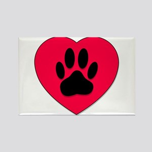Red Heart With Dog Paw Print Magnets