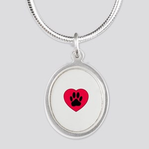 Red Heart With Dog Paw Print Necklaces