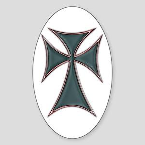 Christian Biker Chopper Cross Oval Sticker