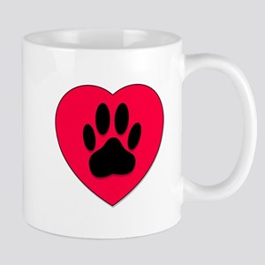 Red Heart With Dog Paw Print Mugs
