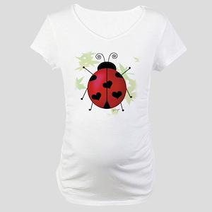 Heart Ladybug Maternity T-Shirt