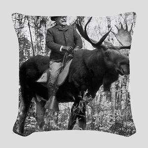 Teddy Roosevelt On Bullmoose Woven Throw Pillow