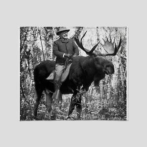 Teddy Roosevelt On Bullmoose Throw Blanket