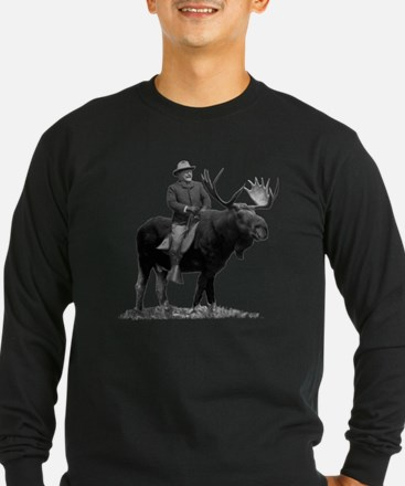 Teddy Roosevelt Riding A Bull Moose Long Sleeve T-