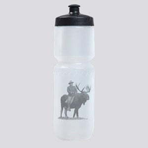 Teddy Roosevelt Riding A Bull Moose Sports Bottle
