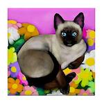 SIAMESE CAT FLOWERS Tile Coaster