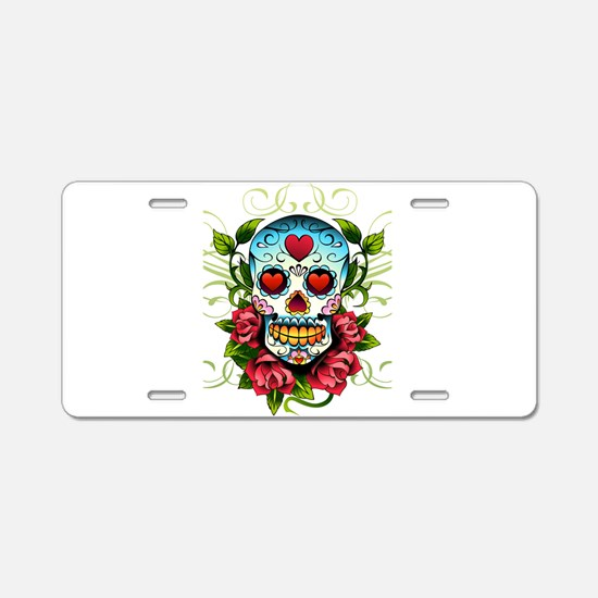 SugarSkull1 Aluminum License Plate
