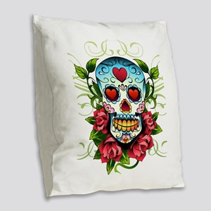 SugarSkull1 Burlap Throw Pillow