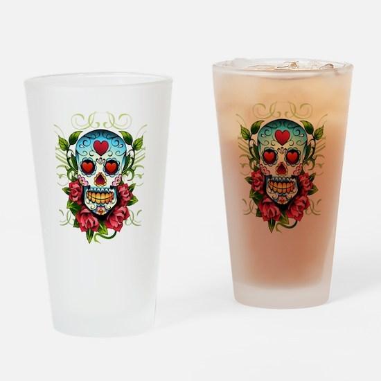 SugarSkull1 Drinking Glass