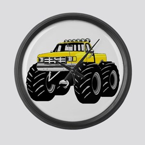 Yellow MONSTER Truck Large Wall Clock