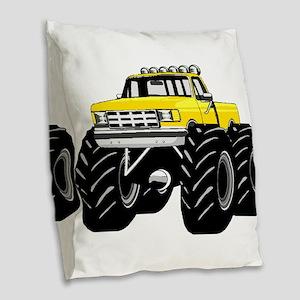 Yellow MONSTER Truck Burlap Throw Pillow