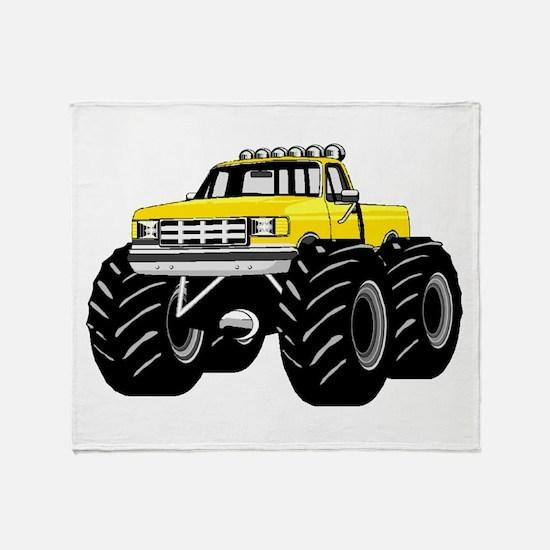 Yellow MONSTER Truck Throw Blanket