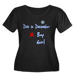 Due In December Women's Plus Size Scoop Neck Dark
