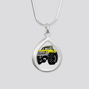 Yellow MONSTER Truck Silver Teardrop Necklace