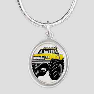 Yellow MONSTER Truck Silver Oval Necklace