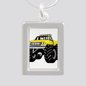 Yellow MONSTER Truck Silver Portrait Necklace
