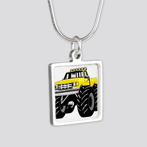 Yellow MONSTER Truck Silver Square Necklace