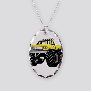 Yellow MONSTER Truck Necklace Oval Charm