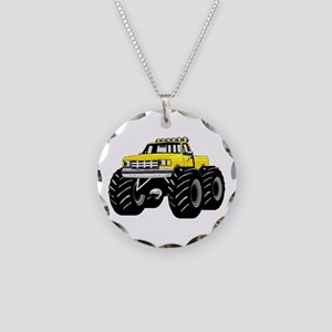 Yellow MONSTER Truck Necklace Circle Charm