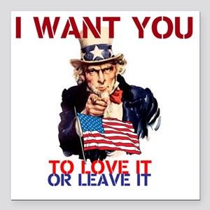 """AMERICA LOVE IT OR LEAVE IT Square Car Magnet 3"""" x"""