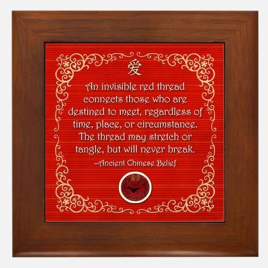 Red Thread Framed Tile