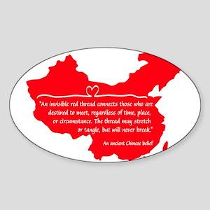 Red Thread Oval Sticker