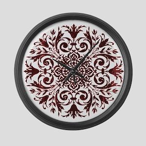 Burgundy Lace Mandala Large Wall Clock