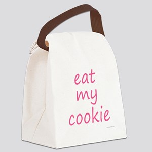eat my cookie pink Canvas Lunch Bag