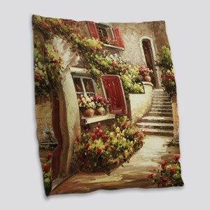 Tuscan Courtyard Burlap Throw Pillow