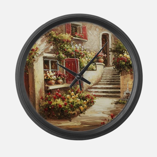 Tuscan Courtyard Large Wall Clock