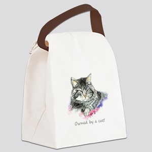 Owned by a Cat fun Quote Canvas Lunch Bag