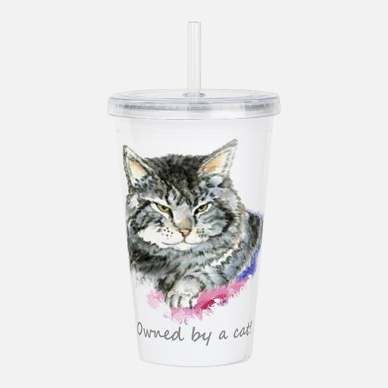 Owned by a Cat fun Quote Acrylic Double-wall Tumbl