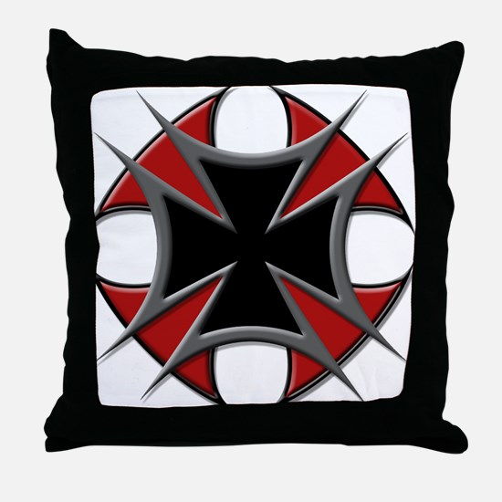 Double Maltese Biker Cross Throw Pillow