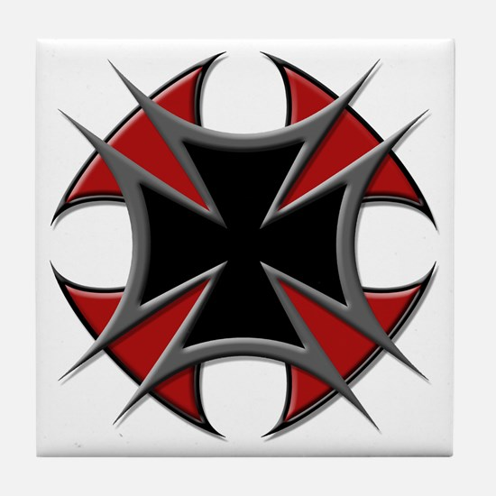 Double Maltese Biker Cross Tile Coaster