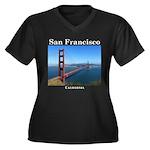 San Francisc Women's Plus Size V-Neck Dark T-Shirt