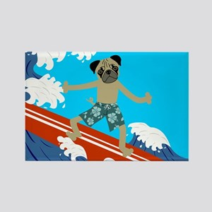 Pug Dog Longboard Surfer Rectangle Magnet